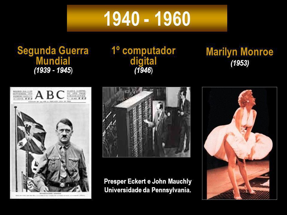 1940 - 1960 Marilyn Monroe (1953) Segunda Guerra Mundial (1939 - 1945 ) Presper Eckert e John Mauchly Universidade da Pennsylvania. 1º computador digi
