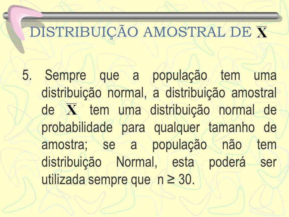 DISTRIBUIÇÃO AMOSTRAL DE 5. Sempre que a população tem uma distribuição normal, a distribuição amostral de tem uma distribuição normal de probabilidad