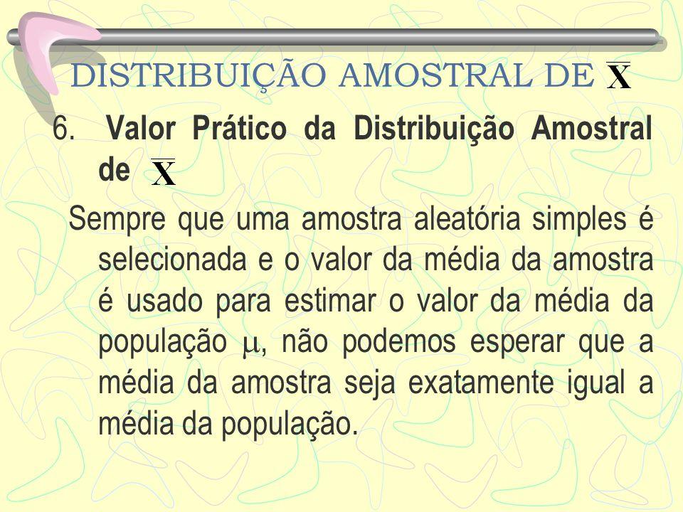 DISTRIBUIÇÃO AMOSTRAL DE 6. Valor Prático da Distribuição Amostral de Sempre que uma amostra aleatória simples é selecionada e o valor da média da amo
