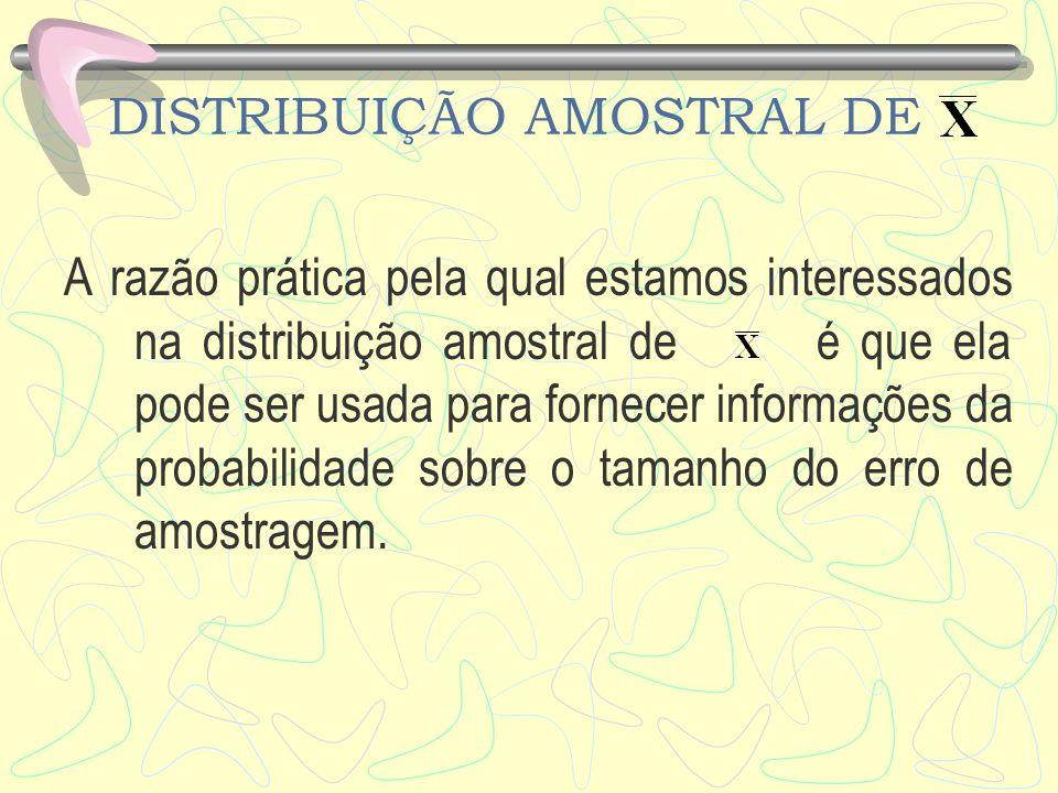 DISTRIBUIÇÃO AMOSTRAL DE A razão prática pela qual estamos interessados na distribuição amostral de é que ela pode ser usada para fornecer informações