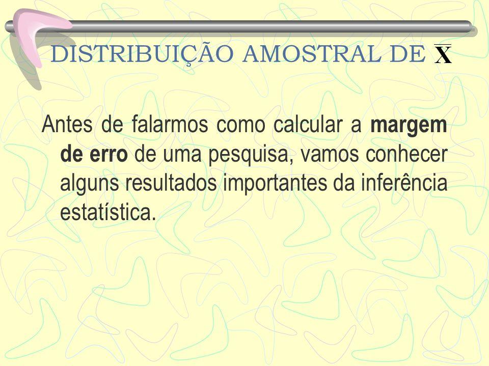 DISTRIBUIÇÃO AMOSTRAL DE A razão prática pela qual estamos interessados na distribuição amostral de é que ela pode ser usada para fornecer informações da probabilidade sobre o tamanho do erro de amostragem.