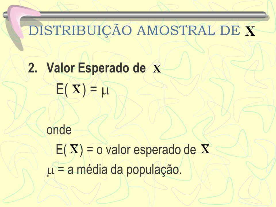 DISTRIBUIÇÃO AMOSTRAL DE 2.Valor Esperado de E( ) = onde E( ) = o valor esperado de = a média da população.