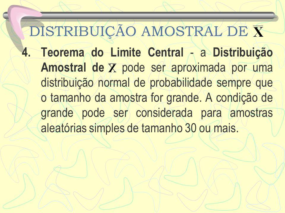 DISTRIBUIÇÃO AMOSTRAL DE 4.Teorema do Limite Central - a Distribuição Amostral de pode ser aproximada por uma distribuição normal de probabilidade sem