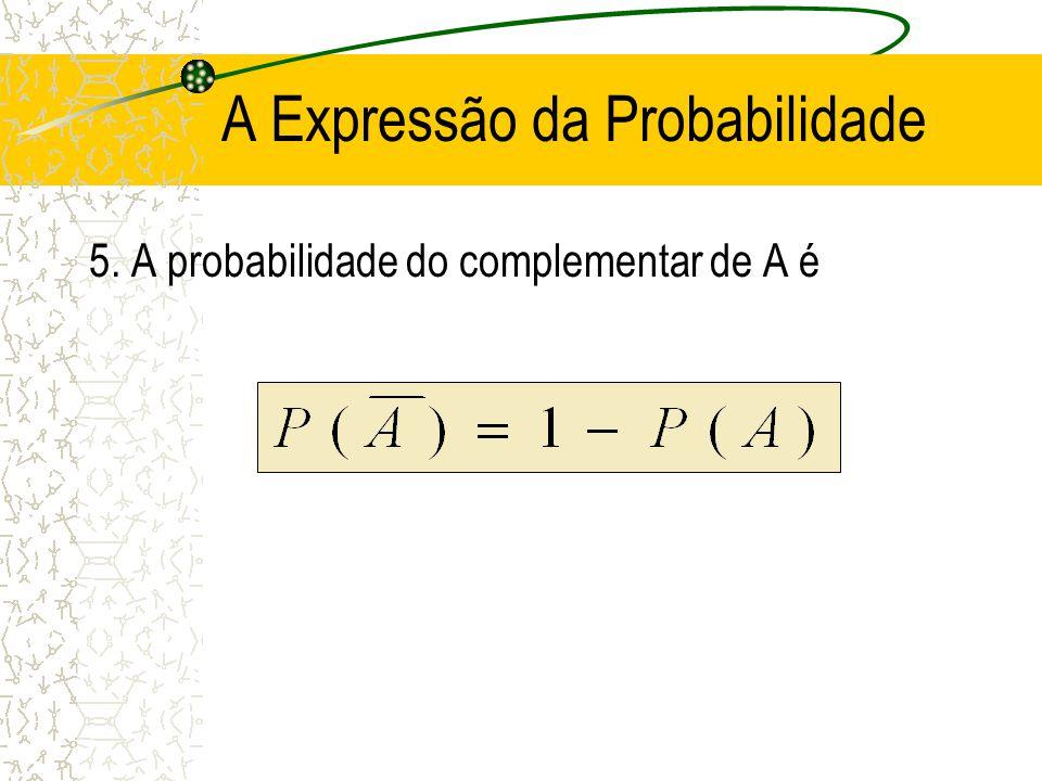 A Expressão da Probabilidade 4. Se A e B são mutuamente exclusivos, então a união ficará