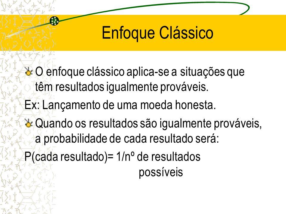 Enfoques Historicamente, há três enfoques para definir probabilidade: enfoque clássico, enfoque da freqüência relativa e enfoque subjetivo.