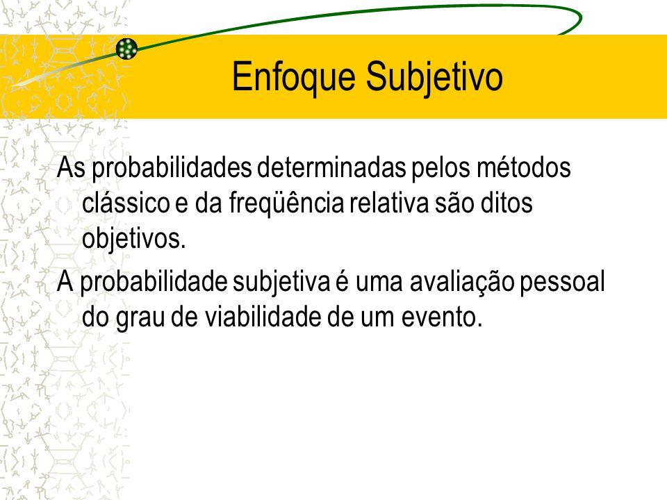 Enfoque da Freqüência Relativa (cont.) Ao adotarmos o método empírico, é importante reconhecer os seguintes pontos: a probabilidade é uma estimativa d