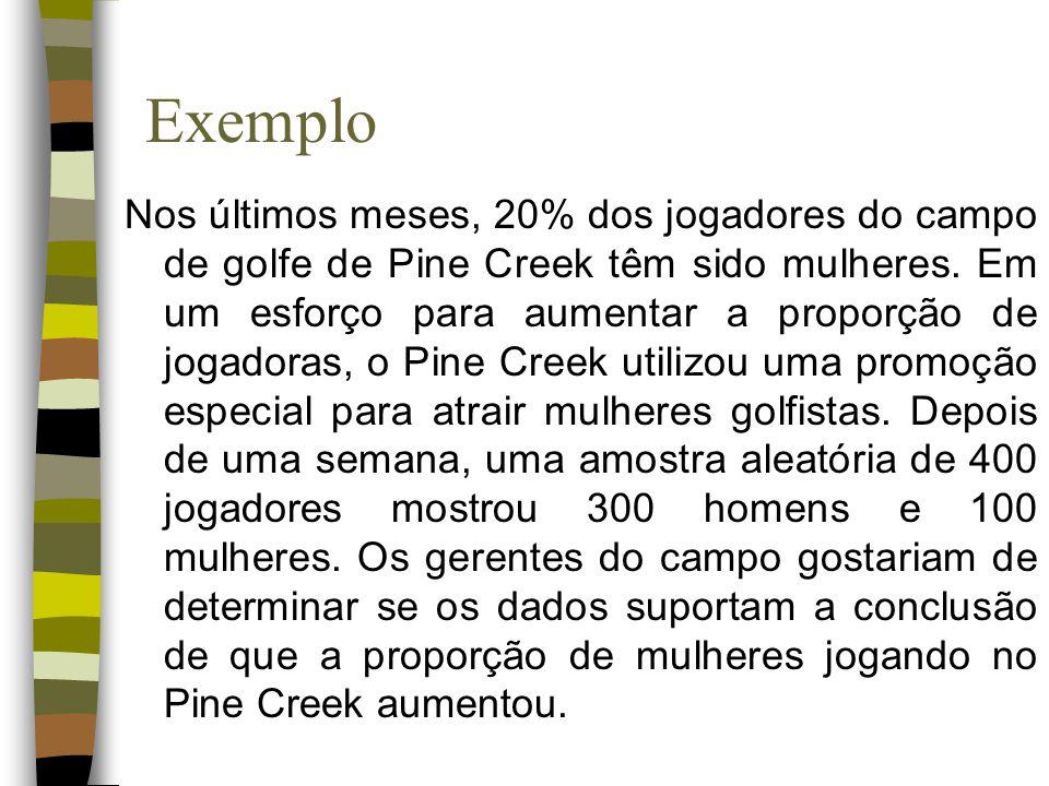 Exemplo Nos últimos meses, 20% dos jogadores do campo de golfe de Pine Creek têm sido mulheres. Em um esforço para aumentar a proporção de jogadoras,