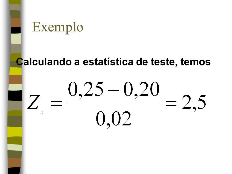 Exemplo Calculando a estatística de teste, temos