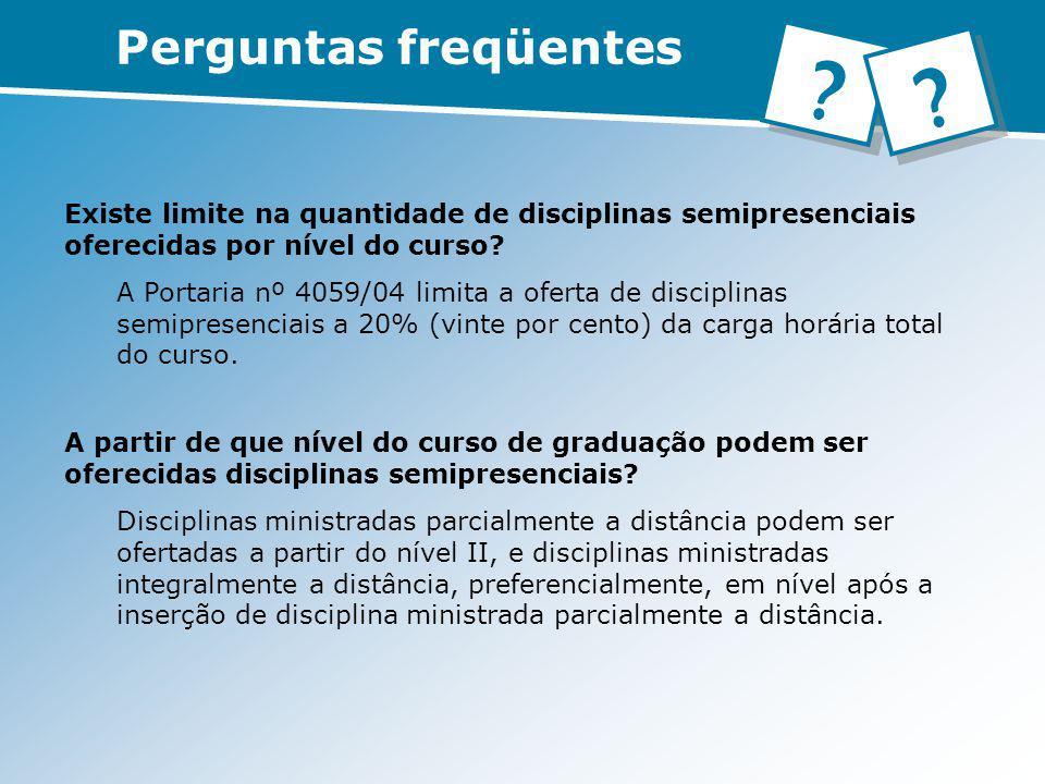 Existe limite na quantidade de disciplinas semipresenciais oferecidas por nível do curso? A Portaria nº 4059/04 limita a oferta de disciplinas semipre