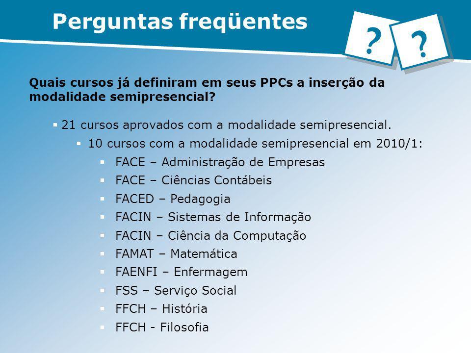 Quais cursos já definiram em seus PPCs a inserção da modalidade semipresencial? 21 cursos aprovados com a modalidade semipresencial. 10 cursos com a m
