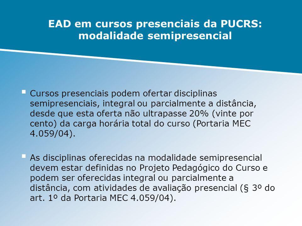 EAD em cursos presenciais da PUCRS: modalidade semipresencial Cursos presenciais podem ofertar disciplinas semipresenciais, integral ou parcialmente a