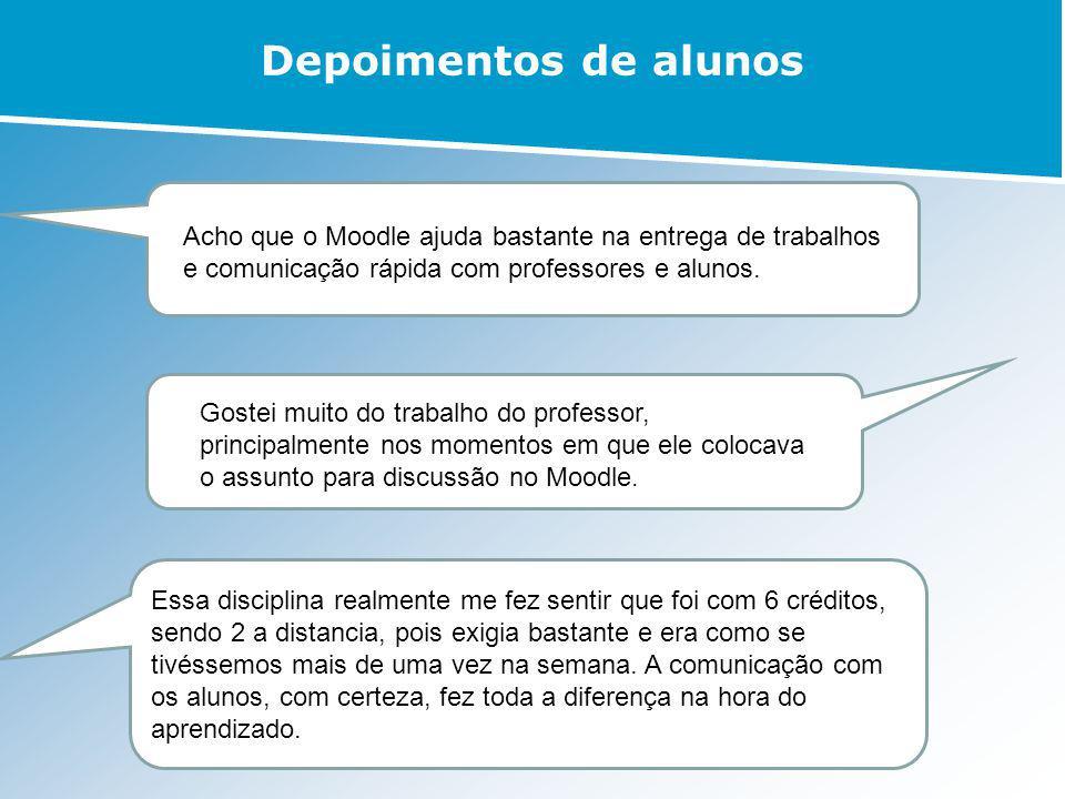 Depoimentos de alunos Gostei muito do trabalho do professor, principalmente nos momentos em que ele colocava o assunto para discussão no Moodle. Acho