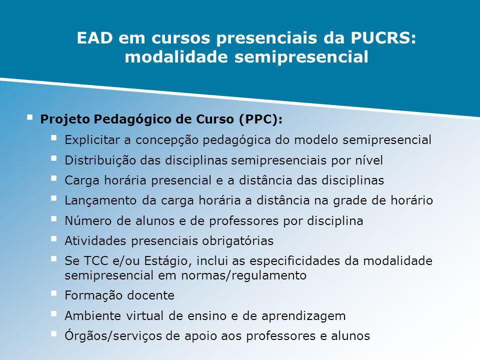 EAD em cursos presenciais da PUCRS: modalidade semipresencial Projeto Pedagógico de Curso (PPC): Explicitar a concepção pedagógica do modelo semiprese