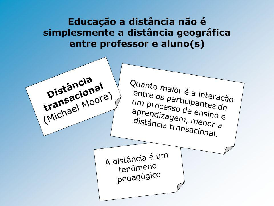 A distância é um fenômeno pedagógico Educação a distância não é simplesmente a distância geográfica entre professor e aluno(s) Quanto maior é a intera