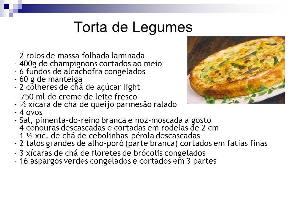 Torta de Legumes - 2 rolos de massa folhada laminada - 400g de champignons cortados ao meio - 6 fundos de alcachofra congelados - 60 g de manteiga - 2