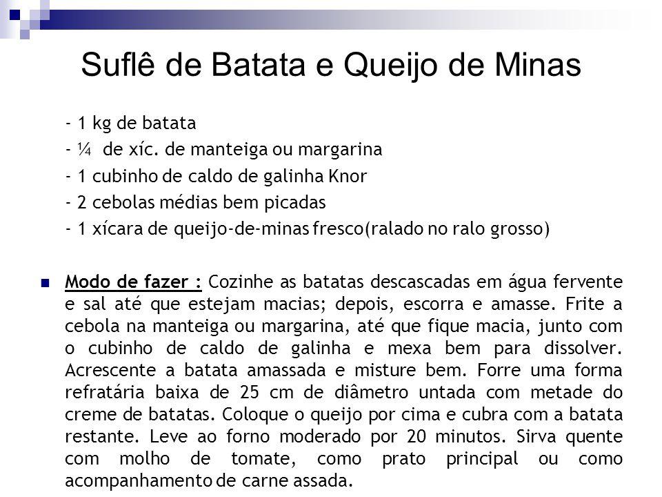 Suflê de Batata e Queijo de Minas - 1 kg de batata - ¼ de xíc. de manteiga ou margarina - 1 cubinho de caldo de galinha Knor - 2 cebolas médias bem pi