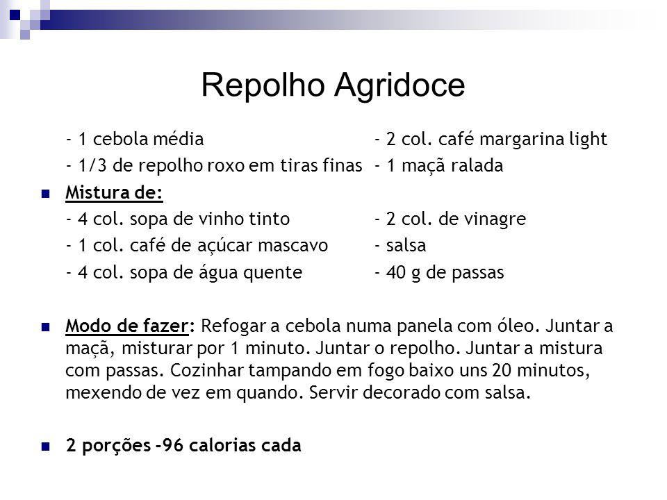 Repolho Agridoce - 1 cebola média- 2 col. café margarina light - 1/3 de repolho roxo em tiras finas- 1 maçã ralada Mistura de: - 4 col. sopa de vinho