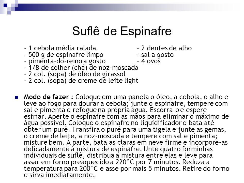 Suflê de Espinafre - 1 cebola média ralada- 2 dentes de alho - 500 g de espinafre limpo- sal a gosto - pimenta-do-reino a gosto- 4 ovos - 1/8 de colhe