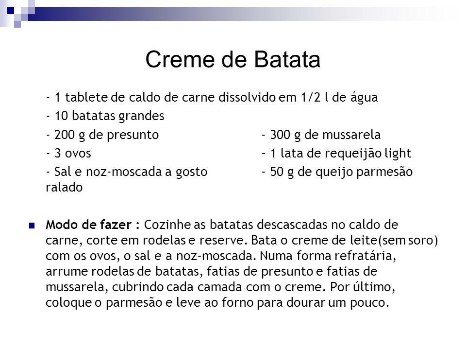 Creme de Batata - 1 tablete de caldo de carne dissolvido em 1/2 l de água - 10 batatas grandes - 200 g de presunto- 300 g de mussarela - 3 ovos- 1 lat