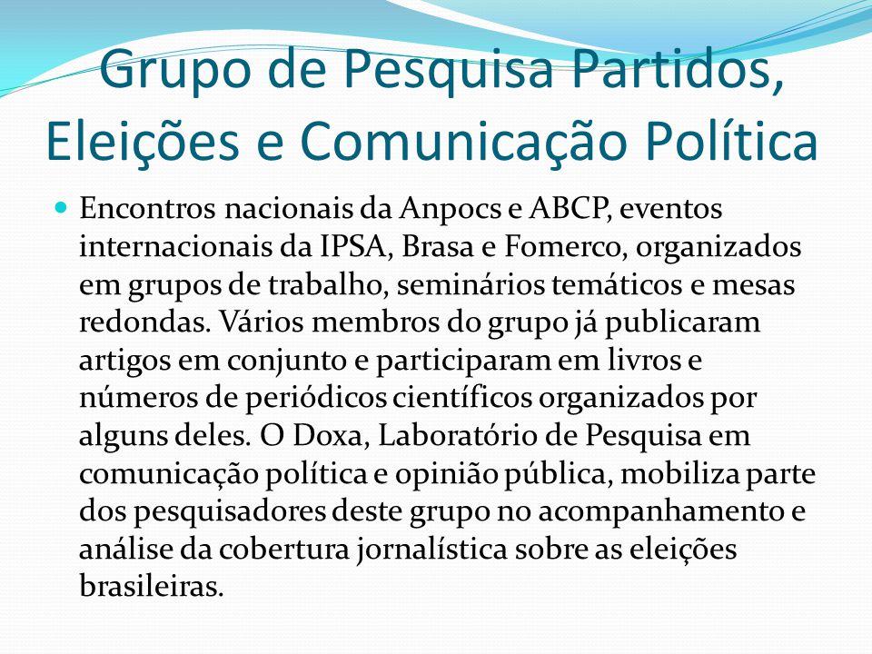 Grupo de Pesquisa Partidos, Eleições e Comunicação Política Encontros nacionais da Anpocs e ABCP, eventos internacionais da IPSA, Brasa e Fomerco, org