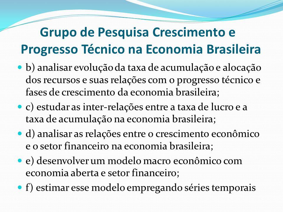 Grupo de Pesquisa Crescimento e Progresso Técnico na Economia Brasileira b) analisar evolução da taxa de acumulação e alocação dos recursos e suas rel