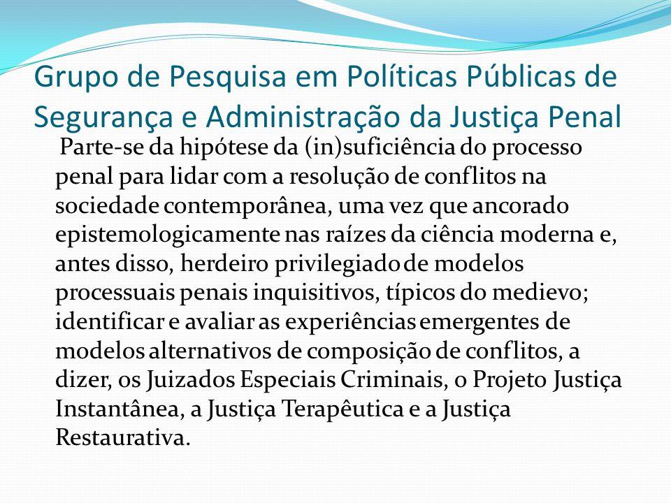 Grupo de Pesquisa em Políticas Públicas de Segurança e Administração da Justiça Penal Parte-se da hipótese da (in)suficiência do processo penal para l