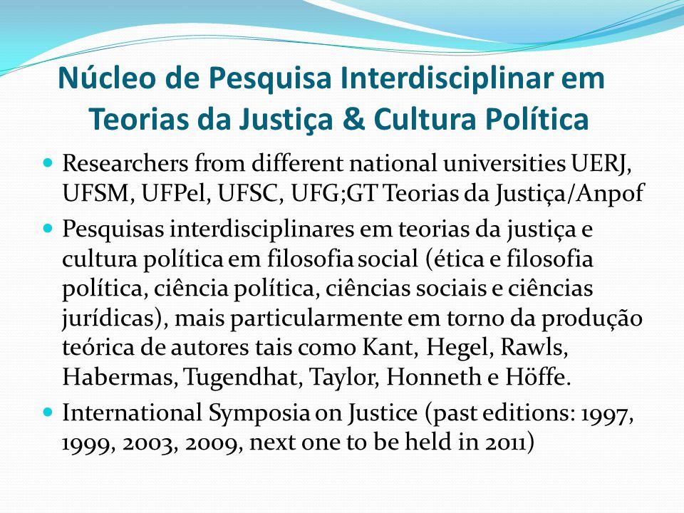 Núcleo de Pesquisa Interdisciplinar em Teorias da Justiça & Cultura Política Researchers from different national universities UERJ, UFSM, UFPel, UFSC,