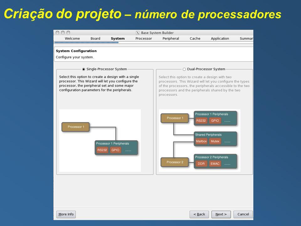 Criação do projeto – número de processadores