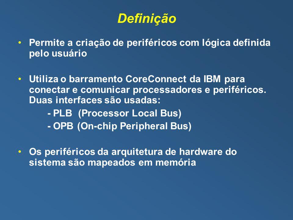Definição Permite a criação de periféricos com lógica definida pelo usuário Utiliza o barramento CoreConnect da IBM para conectar e comunicar processadores e periféricos.