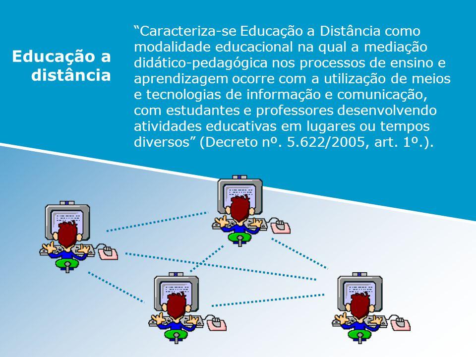 Caracteriza-se Educação a Distância como modalidade educacional na qual a mediação didático-pedagógica nos processos de ensino e aprendizagem ocorre c