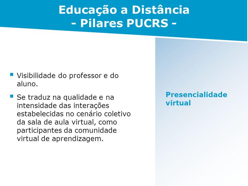 Presencialidade virtual Visibilidade do professor e do aluno. Se traduz na qualidade e na intensidade das interações estabelecidas no cenário coletivo