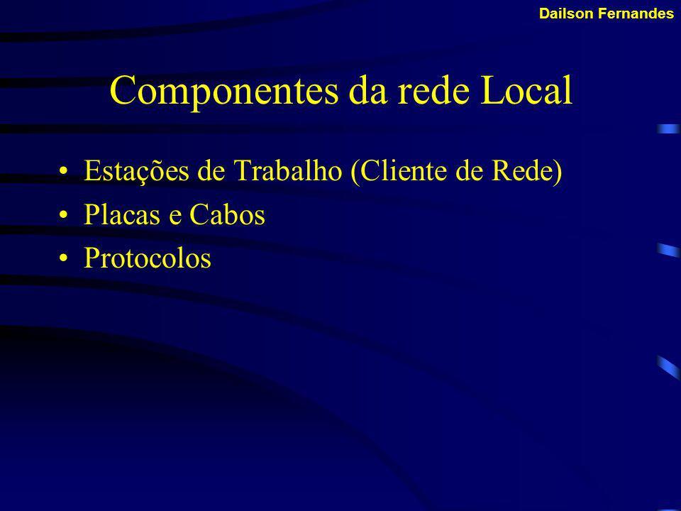 Dailson Fernandes Podemos então classificar as redes locais em três tipos: LAN - Local área Network (Abrangência no espaço físico de um ou mais prédio