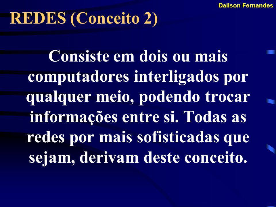 Dailson Fernandes REDES (Conceito 1) É uma coleção de computadores ou dispositivos semelhantes ao computador que podem se comunicar por um meio de transmissão comum.