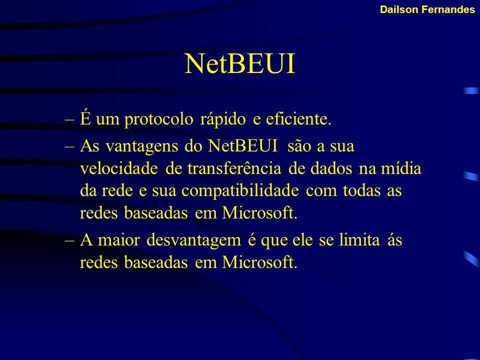 Dailson Fernandes Tipos de Protocolos NetBEUI IPX/SPX TCP/IP