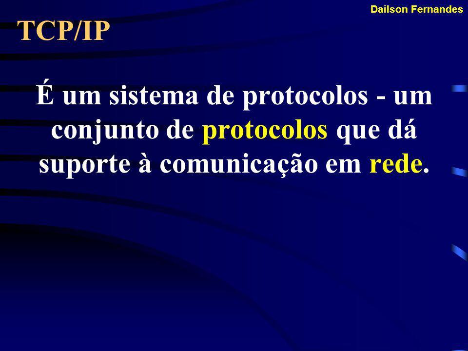 Dailson Fernandes SUPORTE A APLICAÇÕES O TCP/IP oferece suporte as aplicações que acessam o protocolo para ter acesso a rede.