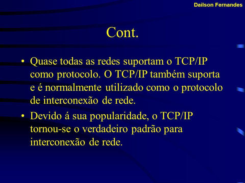 Dailson Fernandes TCP/IP Protocolo de Controle de Transmissão/Protocolo Internet ( TCP/IP ) Tornou-se o protocolo padrão utilizado para interoperabili