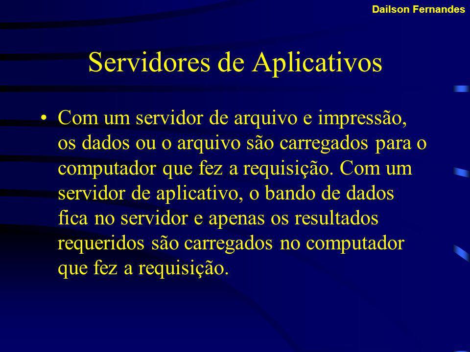 Dailson Fernandes Servidores de Arquivos e Impressão Os servidores de arquivo e impressão gerenciam o acesso do usuário e a utilização dos recursos de