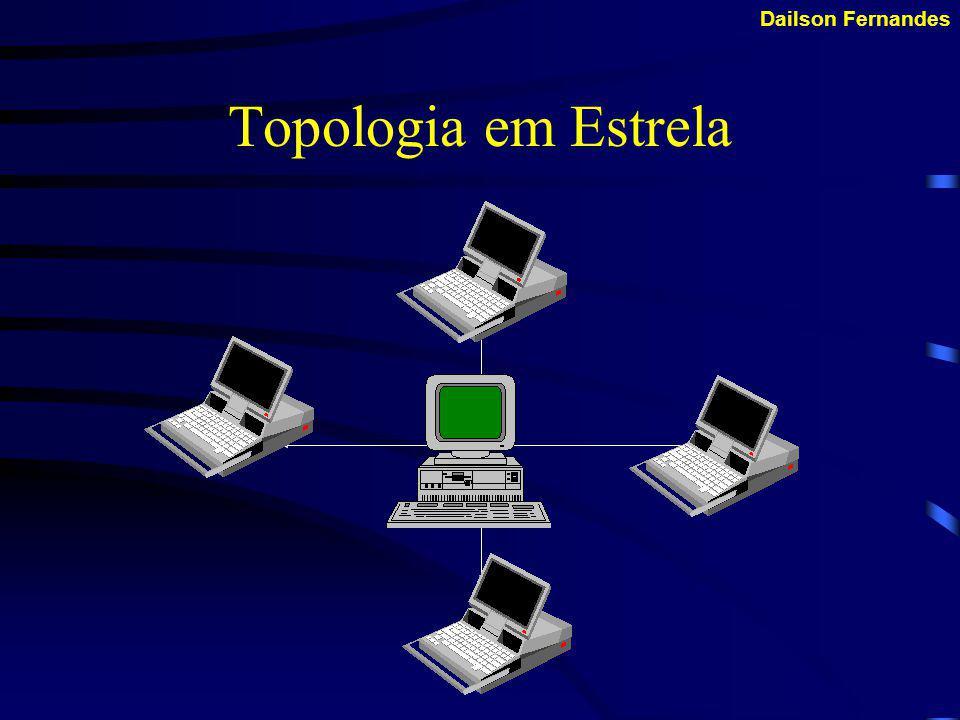 Dailson Fernandes Topologia em Estrela Caracterizada por apresentar, a figura de um ponto centralizador, o responsável pelo roteamento das informações.