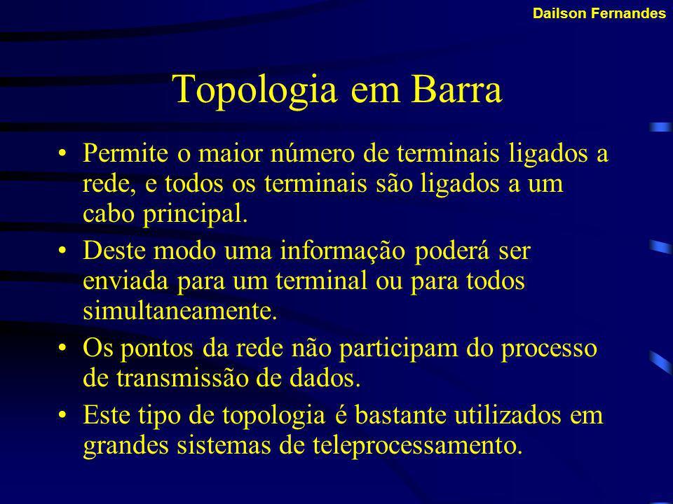 Dailson Fernandes Topologia em Barra A topologia de barramento também é conhecida como barramento linear. Este é o método mais simples e comum de cone