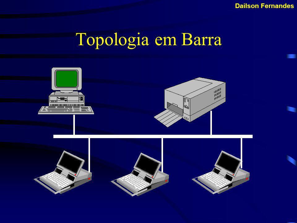 Dailson Fernandes Topologia em Barra Permite o maior número de terminais ligados a rede, e todos os terminais são ligados a um cabo principal.
