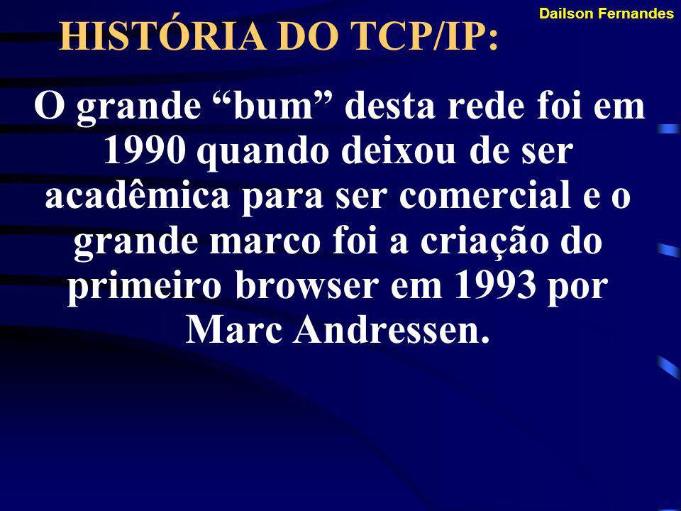 Dailson Fernandes HISTÓRIA DO TCP/IP: Justamente no ano de 1983 que ocorreu a divisão da ARPANET. Uma parte continuou com as suas funções militares -