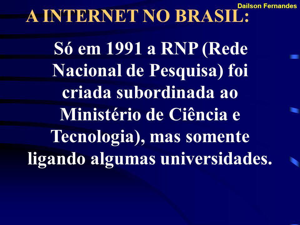Dailson Fernandes SURGIMENTO: Em 1990 a ARPANET foi extinta pelo seu desuso.