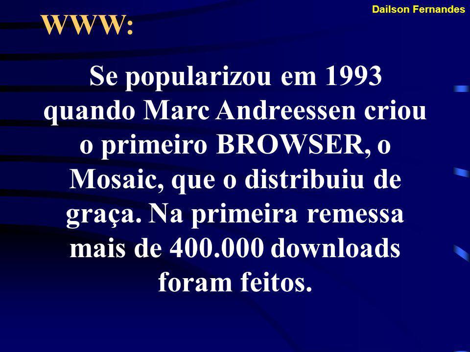 Dailson Fernandes WWW: Wide World Web, hoje o grande atrativo da internet. Criado em 1989 por Tim Berners Lee com o propósito de reunir multimídia e h