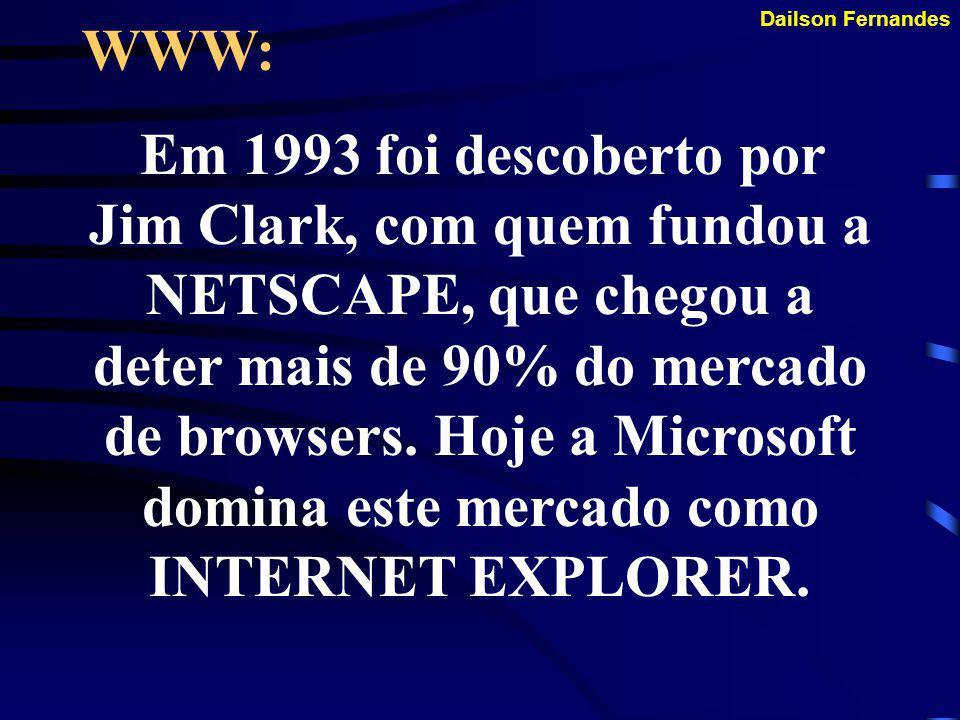 Dailson Fernandes WWW: Se popularizou em 1993 quando Marc Andreessen criou o primeiro BROWSER, o Mosaic, que o distribuiu de graça.