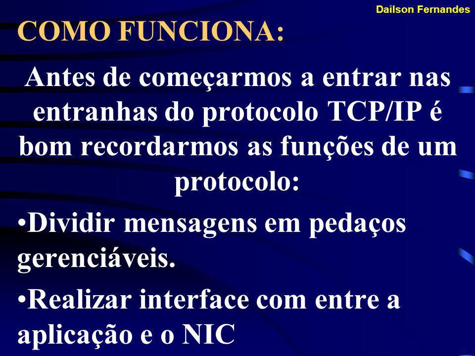 Dailson Fernandes SUPORTE A APLICAÇÕES Exemplos: FTP - Transferência de Arquivos LPR - Impressão PING - Configuração e diagnóstico ROUTE - Config. e d