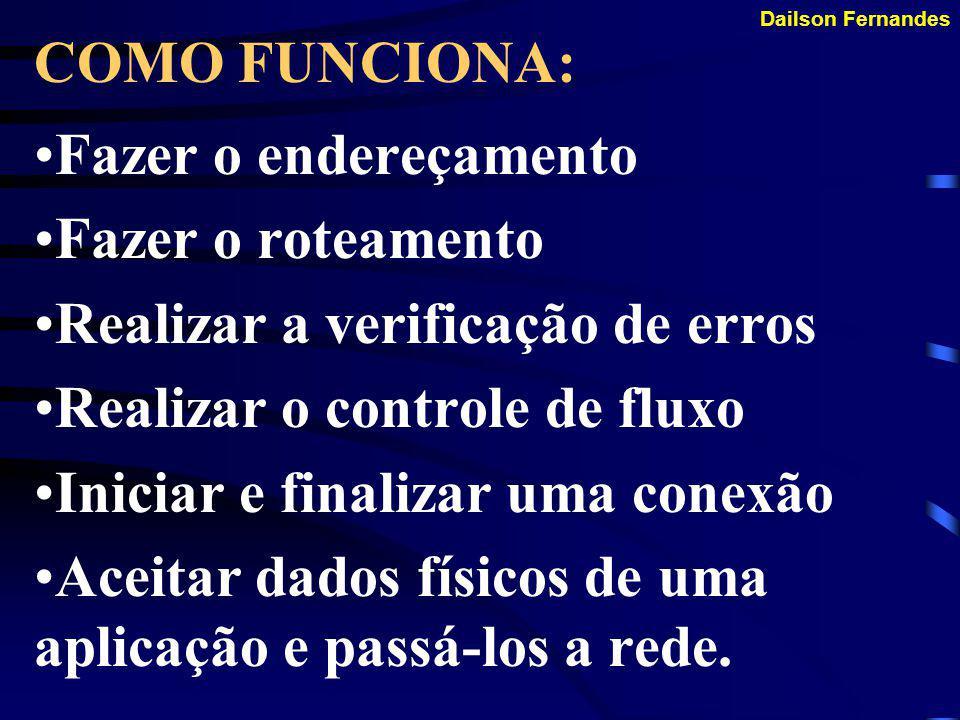 Dailson Fernandes COMO FUNCIONA: Antes de começarmos a entrar nas entranhas do protocolo TCP/IP é bom recordarmos as funções de um protocolo: Dividir