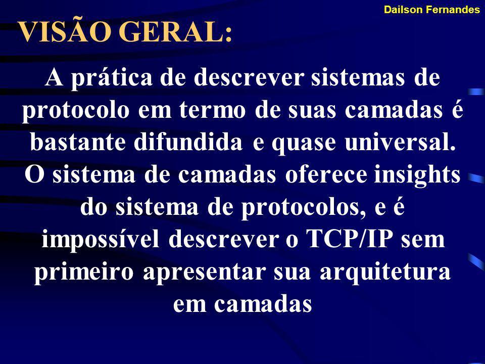 Dailson Fernandes COMO FUNCIONA: Fazer o endereçamento Fazer o roteamento Realizar a verificação de erros Realizar o controle de fluxo Iniciar e final
