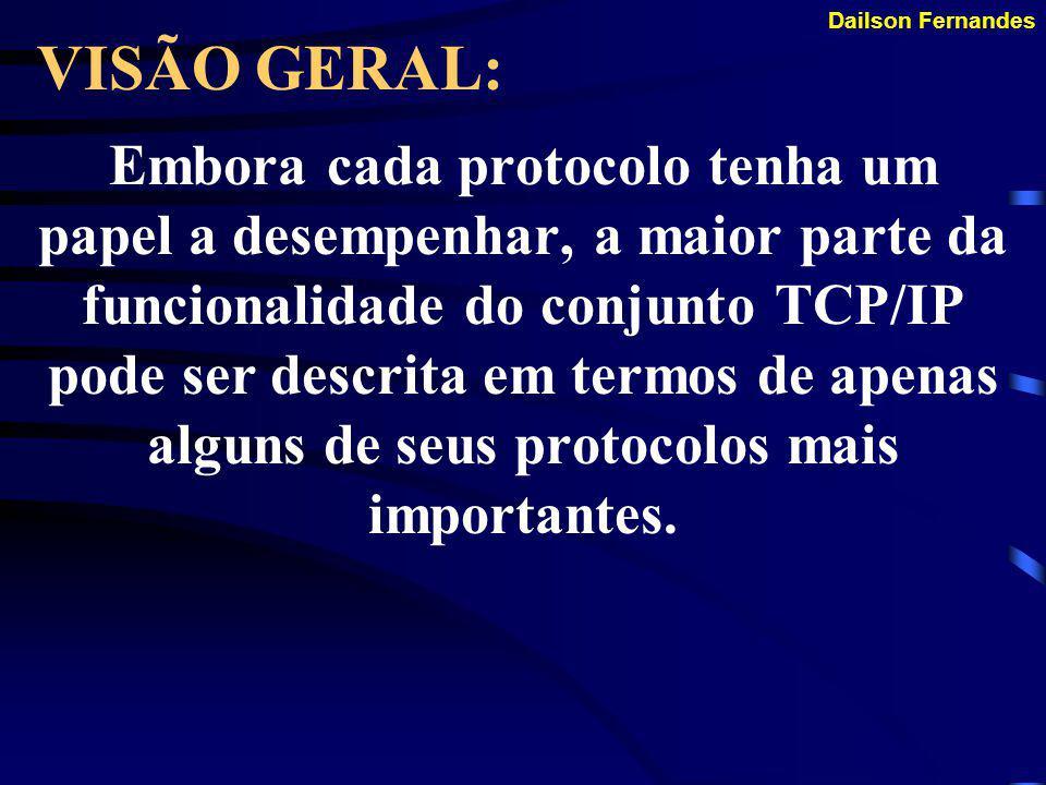 Dailson Fernandes VISÃO GERAL: A prática de descrever sistemas de protocolo em termo de suas camadas é bastante difundida e quase universal. O sistema