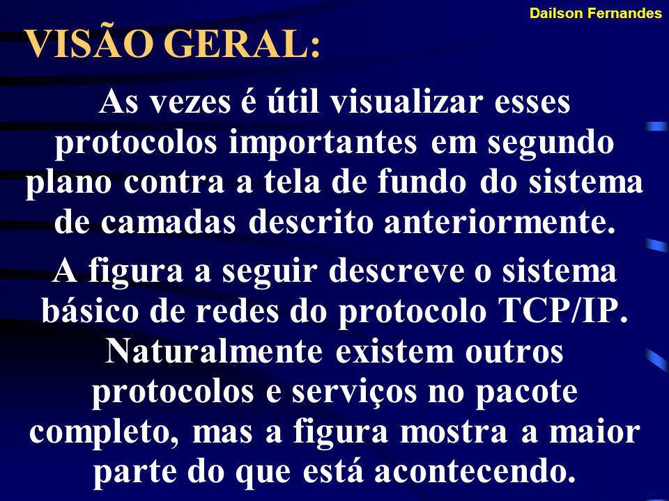 Dailson Fernandes VISÃO GERAL: Embora cada protocolo tenha um papel a desempenhar, a maior parte da funcionalidade do conjunto TCP/IP pode ser descrit