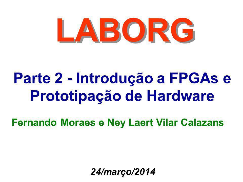 22 Fernando Moraes e Ney Calazans Demais Componentes de FPGA Moderno (2/2) Processadores embarcados do tipo hard macro –Xilinx disponibiliza o processador PowerPC (clock de 300-500MHz) –Podem executar sistemas operacionais embarcados como Linux Transceptores Gigabit –Blocos serializadores / deserializadores para receber dados em altas taxas de transmissão –Virtex-4 é capaz de receber e transmitir dados em freqüências de 3.2 Gbps usando dois fios.